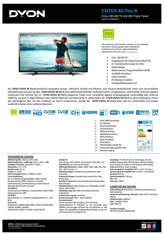 DYON Enter 40 Pro-X 101,6 cm (40 Zoll) Fernseher (Full-HD