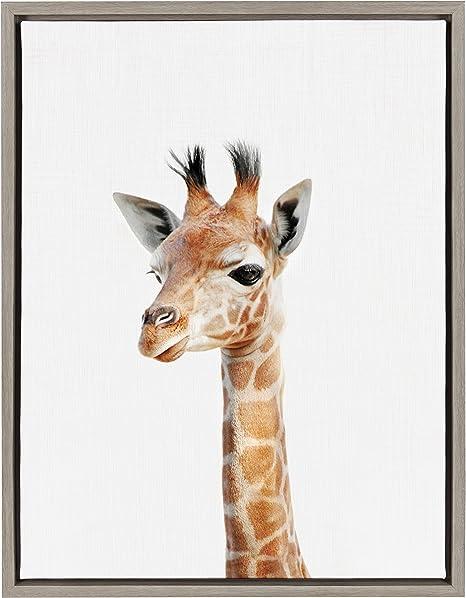 Amazon Com Kate And Laurel Sylvie Giraffe Framed Canvas Wall Art 18x24 Gray Posters Prints