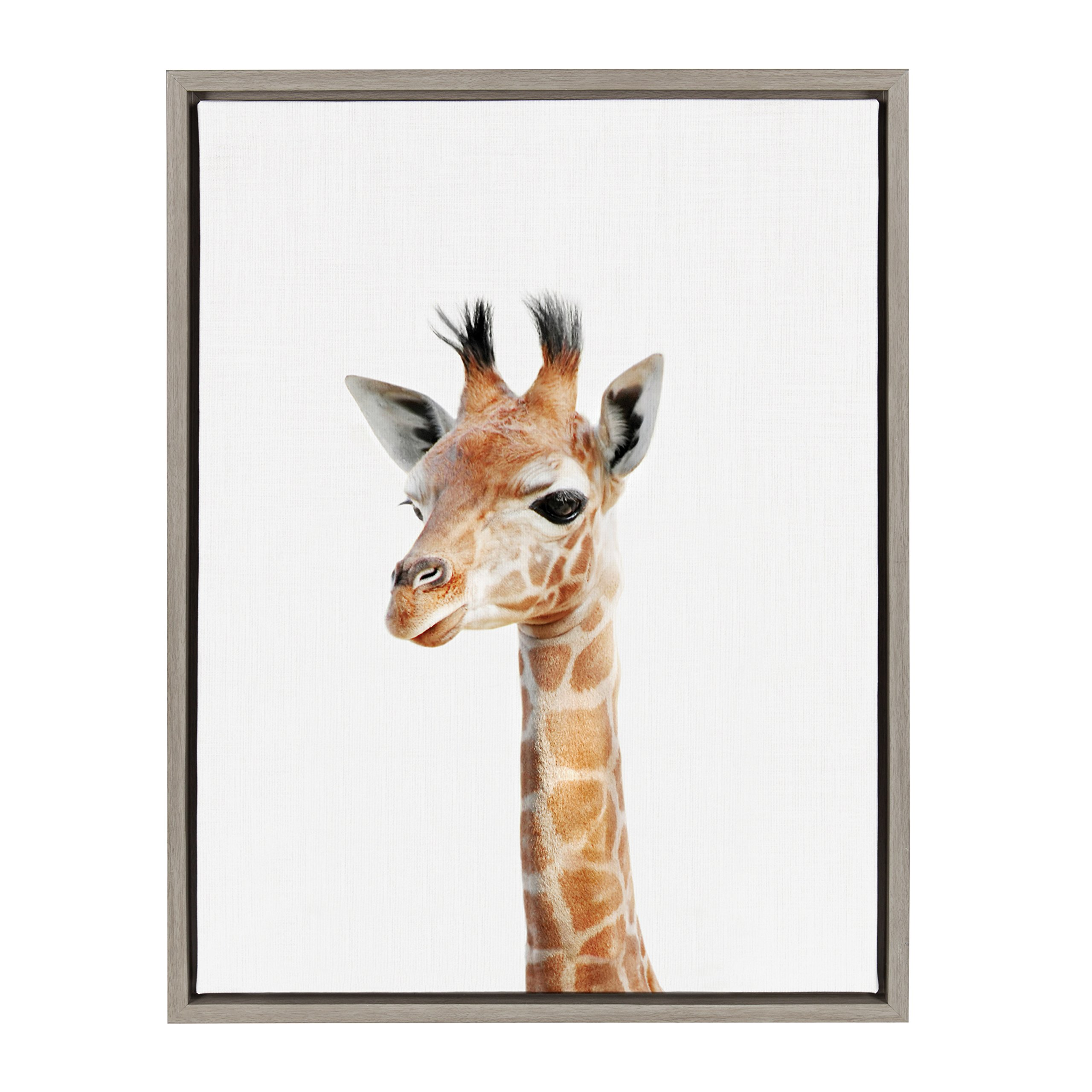 Kate and Laurel - Sylvie Baby Giraffe Animal Print Portrait Framed Canvas Wall Art by Amy Peterson, Gray 18 x 24