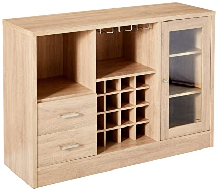 Major Q 9072635 Modern Rustic Oak Finish Wooden Wine Rack Cabinet Server Console Table With Drawers Open Compartments And Shelves