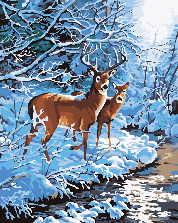 BOSHUN Pintar por Numeros para Adultos Ni/ños Pintura por N/úmeros con Pinceles y Pinturas Decoraciones para el Hogar Ciervos de Colores 16*20 Pulgadas, Sin Marco