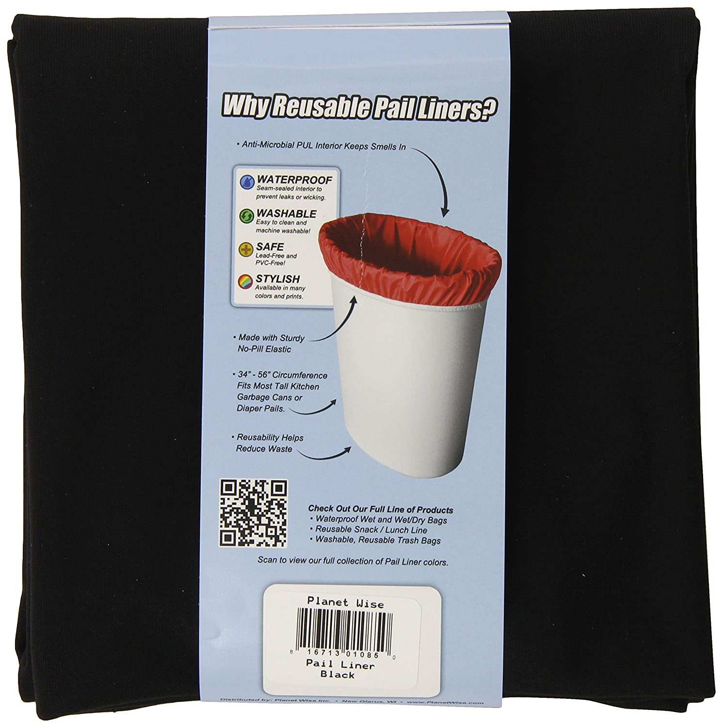 Planet Wise Reusable Diaper Pail Liner Dark Chocolate