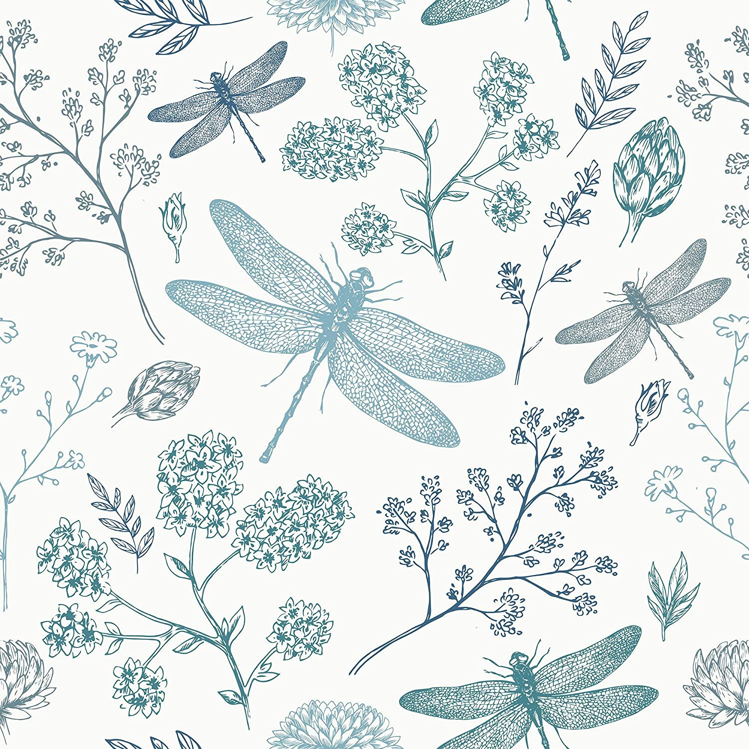 Wallsbyme Peel And Stick Navy Blue And Aqua Floral Animal Fabric Removable Wallpaper 6672 2ft X 4ft 61x122cm Amazon Com
