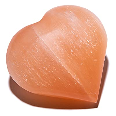 KALIFANO Orange Heart Selenite Worry Stone with Healing & Calming Effects - High Energy Palm Stone Used for Cleansing and Protection (Information Card/Certificate of Authenticity Included): Toys & Games