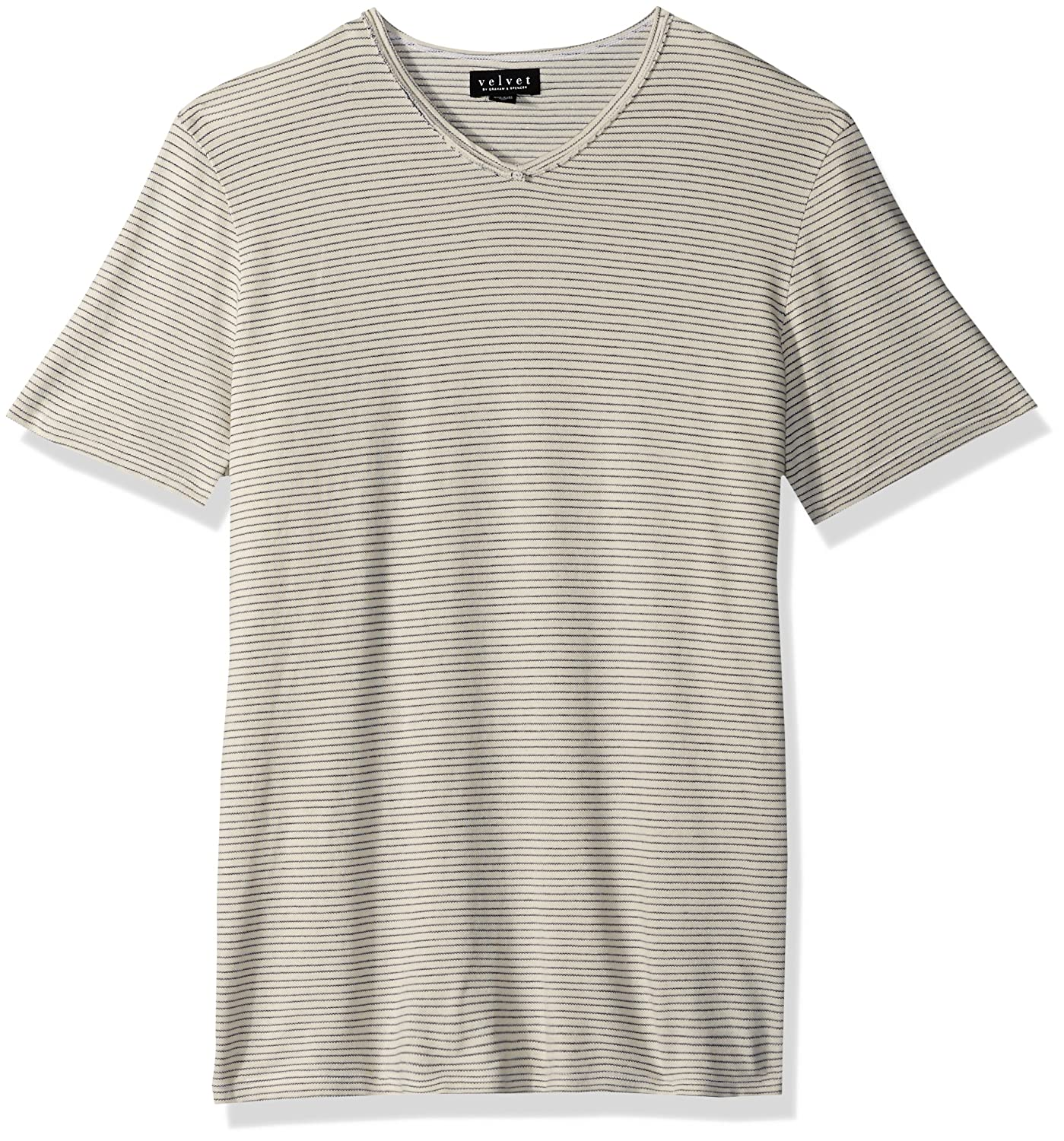Velvet by Graham /& Spencer Velvets Men V-Neck Short Sleeve Shirt in Stripe Pique