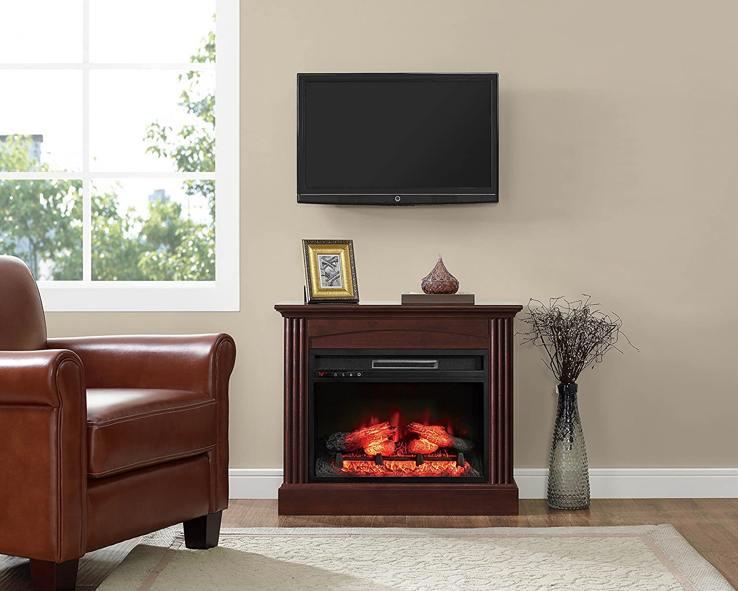 Pleasant Whalen Furniture Fp32Ec23I 1Bc Fully Assembled Chesapeake Mantel Electric Fireplace Brown Cherry 32 Download Free Architecture Designs Grimeyleaguecom