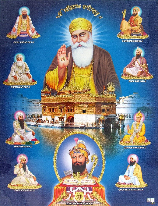Avercart Guru Nanak Dev Ji With All Ten Sikh Gurus Poster 21x28 Cm