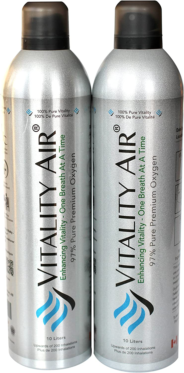 Vitality Air Boost Oxygen Levels - for Your Body - 10L Recreational Canned Oxygen Twin Pack (2)