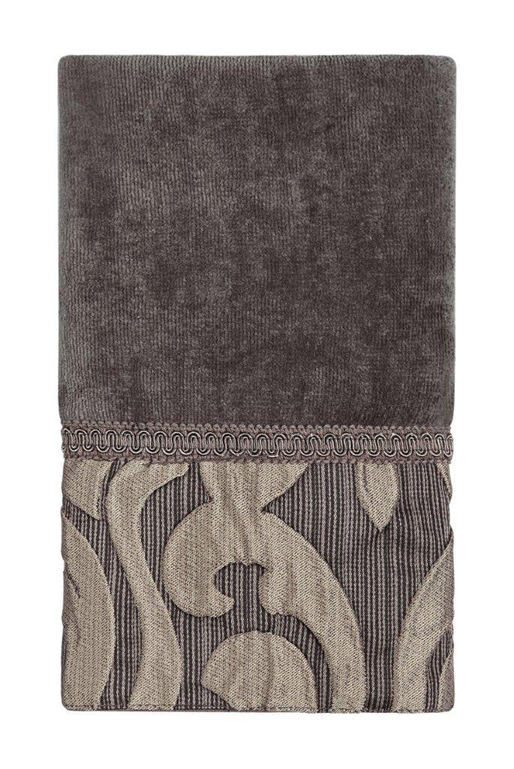 Five Queens Court Lafayette Velour Cotton Jacquard Fingertip Towel, Mink