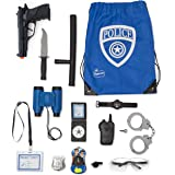 Police Role Play Kit By Funky Toys | 15-Piece Cop Toy Set | Gun Badge Handcuffs Binoculars (Blue Or Green) & Policeman Accessories | Detective Gear For Dress Up & Kids Costumes | Officer Bag Included