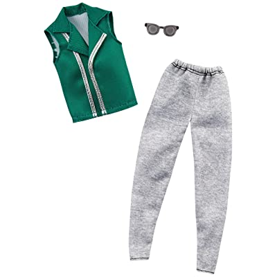 Barbie Clothes: 1 Outfit for Ken Doll Includes Green Vest, Gray Joggers and Sunglasses, Gift for 3 to 8 Year Olds ​: Toys & Games
