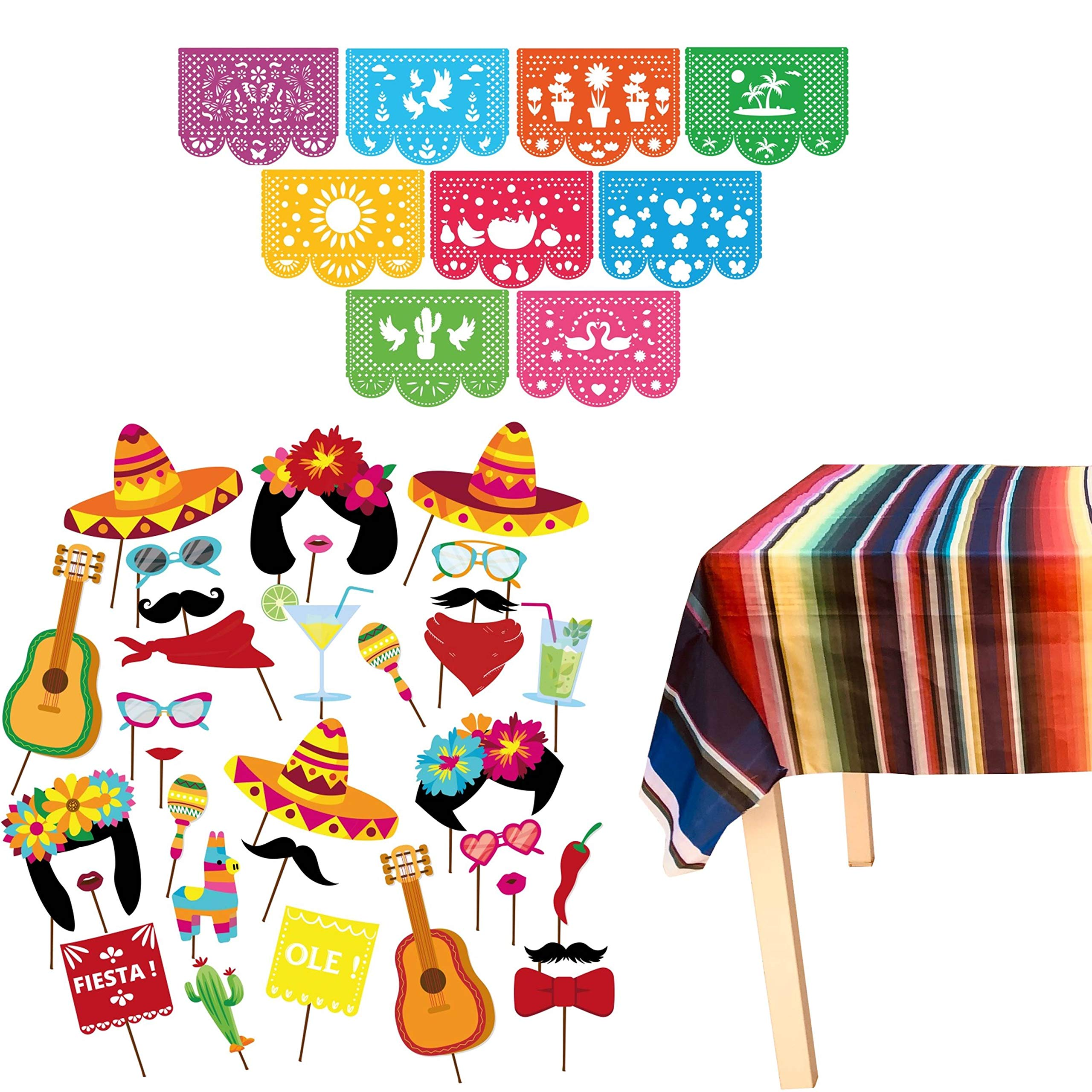 JELDA's Fiesta Photo Booth Props - with Mexican Party Decorations   Fiesta Party Supplies for Cinco De Mayo, Coco, Taco   Large Papel Picado Banner   Plastic Serape Table Cover