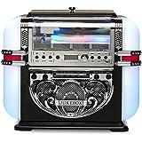 RICATECH RR700 Jukebox Retró Vintage (Radio Fm/Am, Lettore Cd, Ingresso Aux, Altoparlanti Integrati, Illuminazione Led)