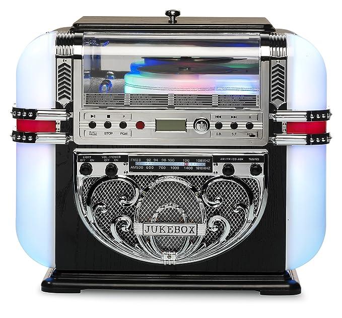 4 opinioni per RICATECH RR700 Jukebox Retró Vintage (Radio Fm/Am, Lettore Cd, Ingresso Aux,