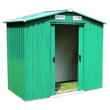 Cobertizo para jardín (Cobertizo metal 5,2 m² Casa Invernadero Caseta tejado machimbre