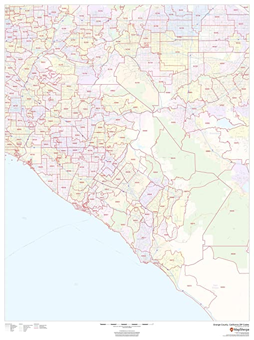 Orange County Zip Code Map Amazon.: Orange County, California Zip Codes   36
