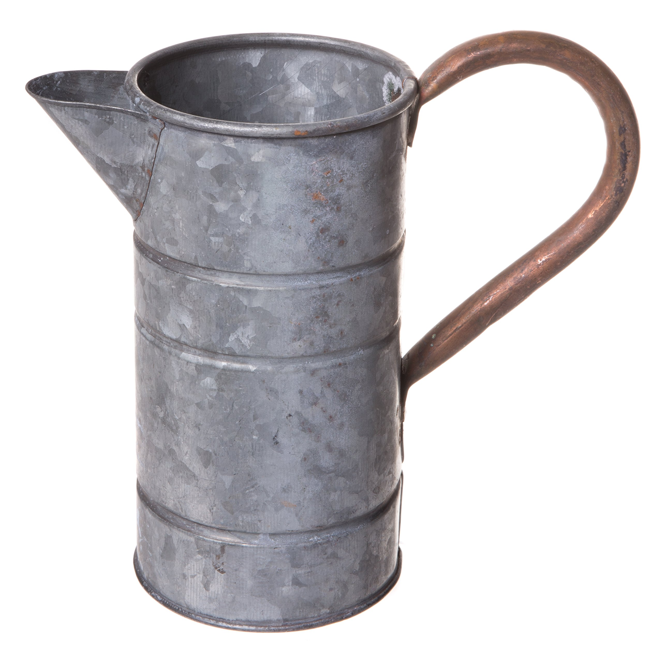 Rustic Galvanized Tin Watering Can, Decorative Pitcher, Vintage Plant Flower Vase, Small, 7-inch