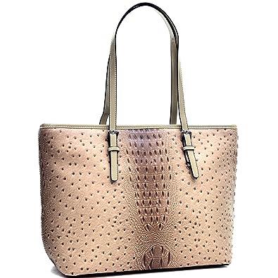 Dasein Women s Large Zip Top Multifunction Buckle Tote Bag Shoulder Purse  Handbag 2591 Beige 3a3316930cee6