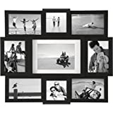 Malden 9-Opening Collage Picture Frame - Made to Display One (1) 5x7, Two (2) 4x4, and Six (6) 4x6 Pictures - Black