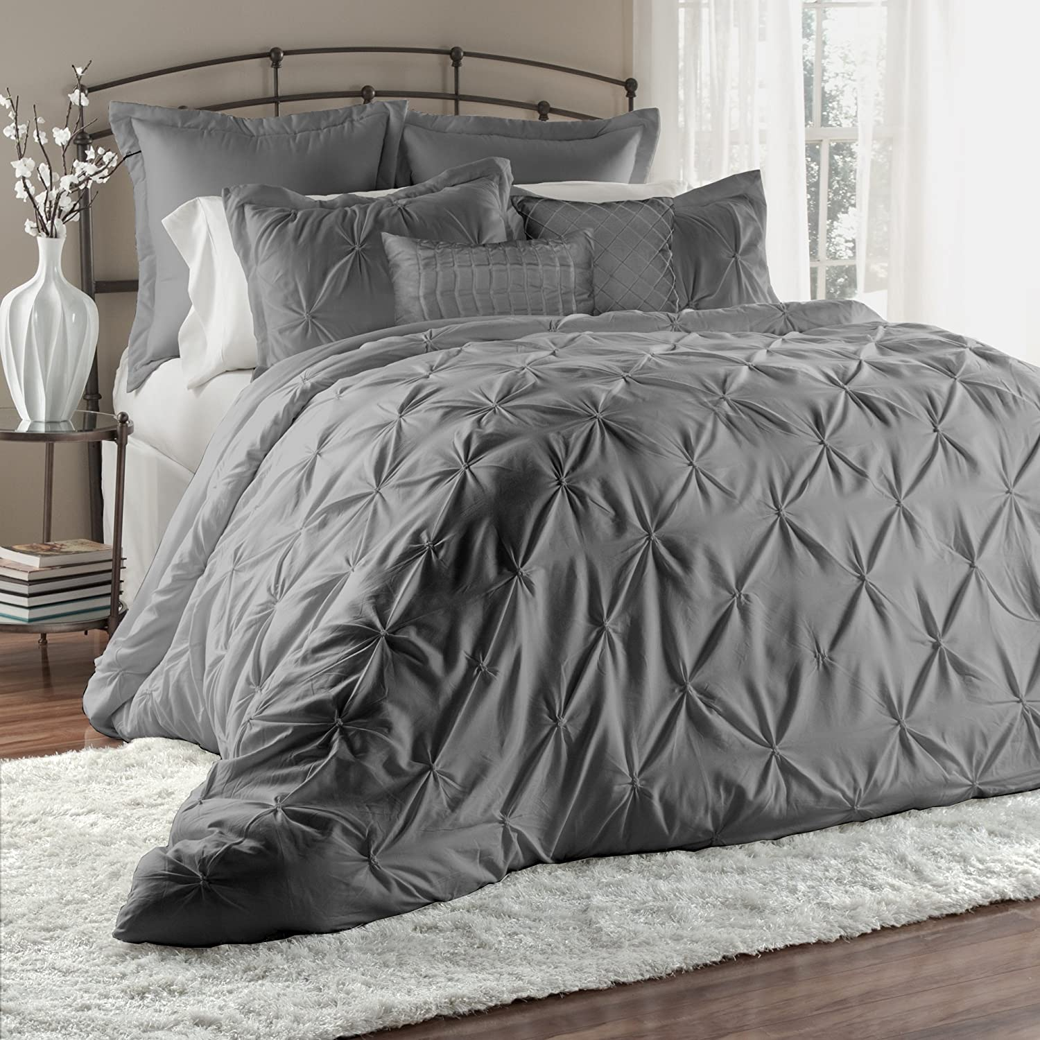 bedding set bellamy silver comforter gray p