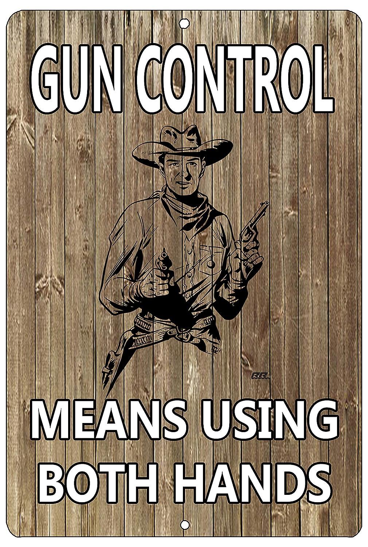 Rogue River Tactical Funny Pro Gun Metal Tin Sign Wall Decor Man Cave Bar Gun Control Means Using Both Hands