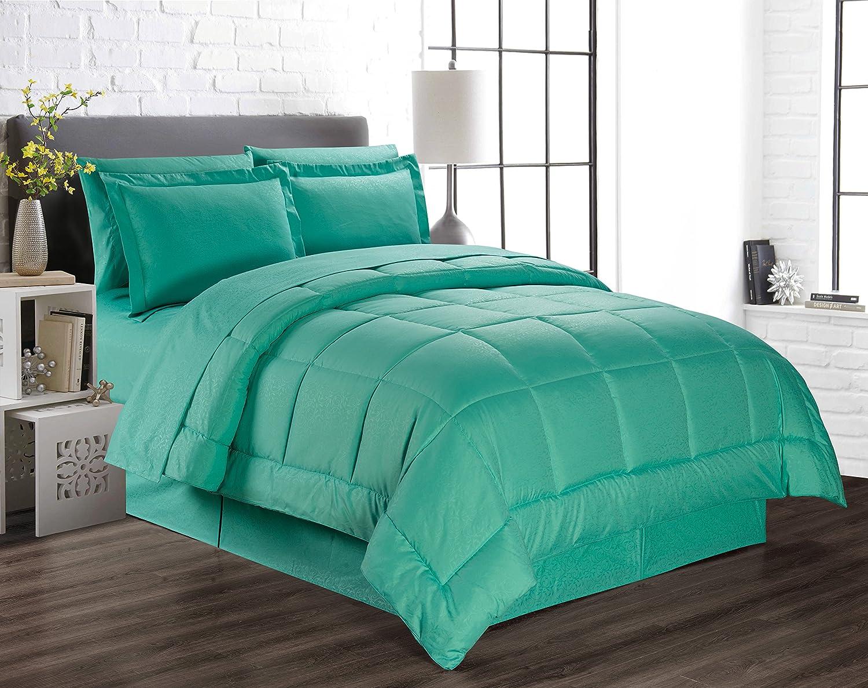 Amazon Com Plazatex 8 Piece Vine Down Alternative Bed In A Bag Bedding Set Queen Teal Home Kitchen
