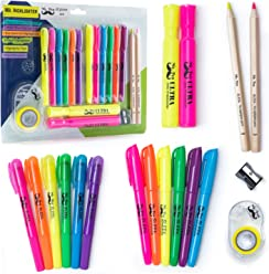 Mr. Pen- 18 Pc Highlighter Set, 6 Gel Bible Highlighter Non Bleed Assorted Color, 6 Narrow Highlighter, 2 Wide Highlighter, 2 Highlighter Pencil, Highlighter for Journaling, Highlighter Tape