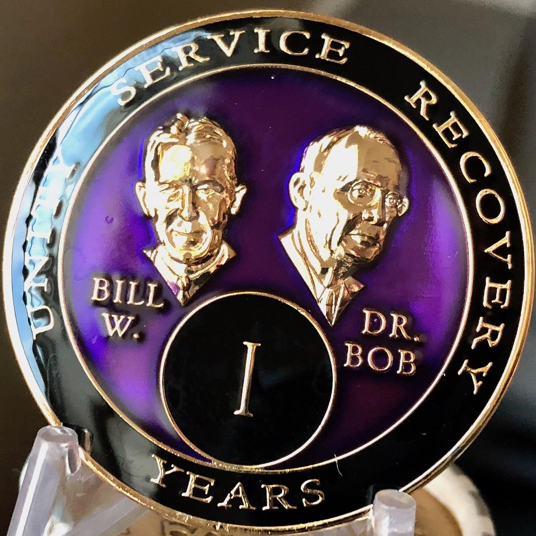 1 Year AA Medallion Purple Tri-Plate Founders Bill /& Bob Chip