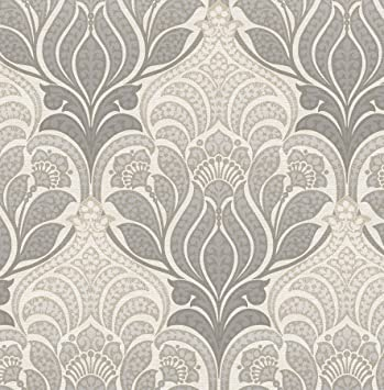 Nuwallpaper Nu2396 Charisma Peel And Stick Wallpaper Grey Amazon Co Uk Diy Tools