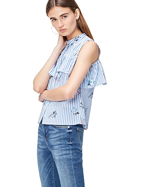 163cfaa351d6 Marca Amazon - find. Camisa de Rayas con Hombros al Aire para Mujer