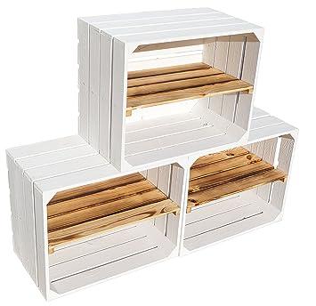 Nueva fruta Cajas blanca con geflammten Juego de 3 estantes Tabla longitudinal manzana caja Vino - Portacajas Caja zapatero Caja + + + 50 x 30 x 40 cm: ...