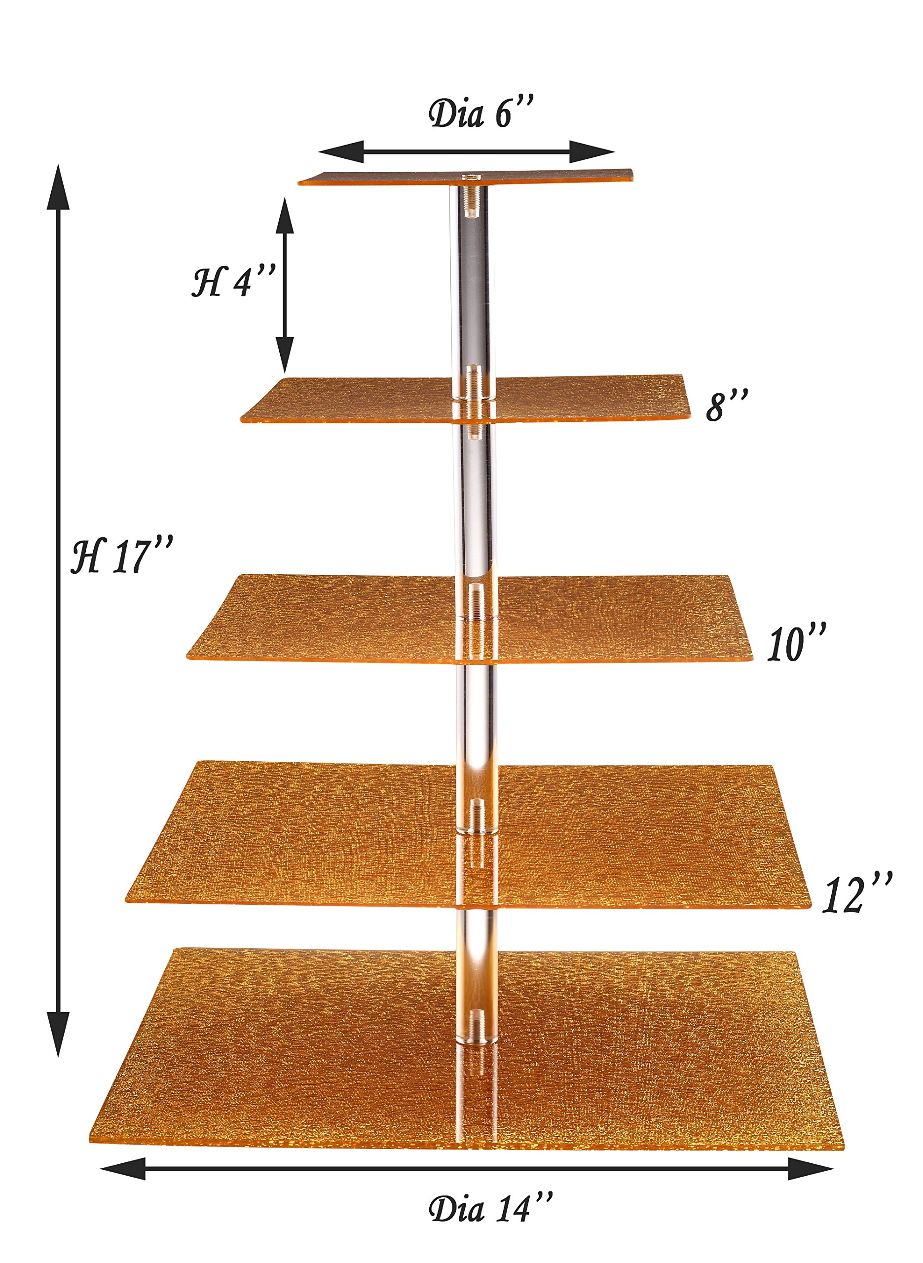 Eglaf Acrylic 5-Tier Gold Cupcake Stand Cakes and Desserts Display Tower/Food Display Platter for Wedding Party (5-Tier-Square-Gold) by Eglaf (Image #2)