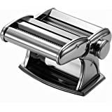 Ovente Vintage Stainless Steel Pasta Maker, 150mm, Polished Chrome (PA615S)