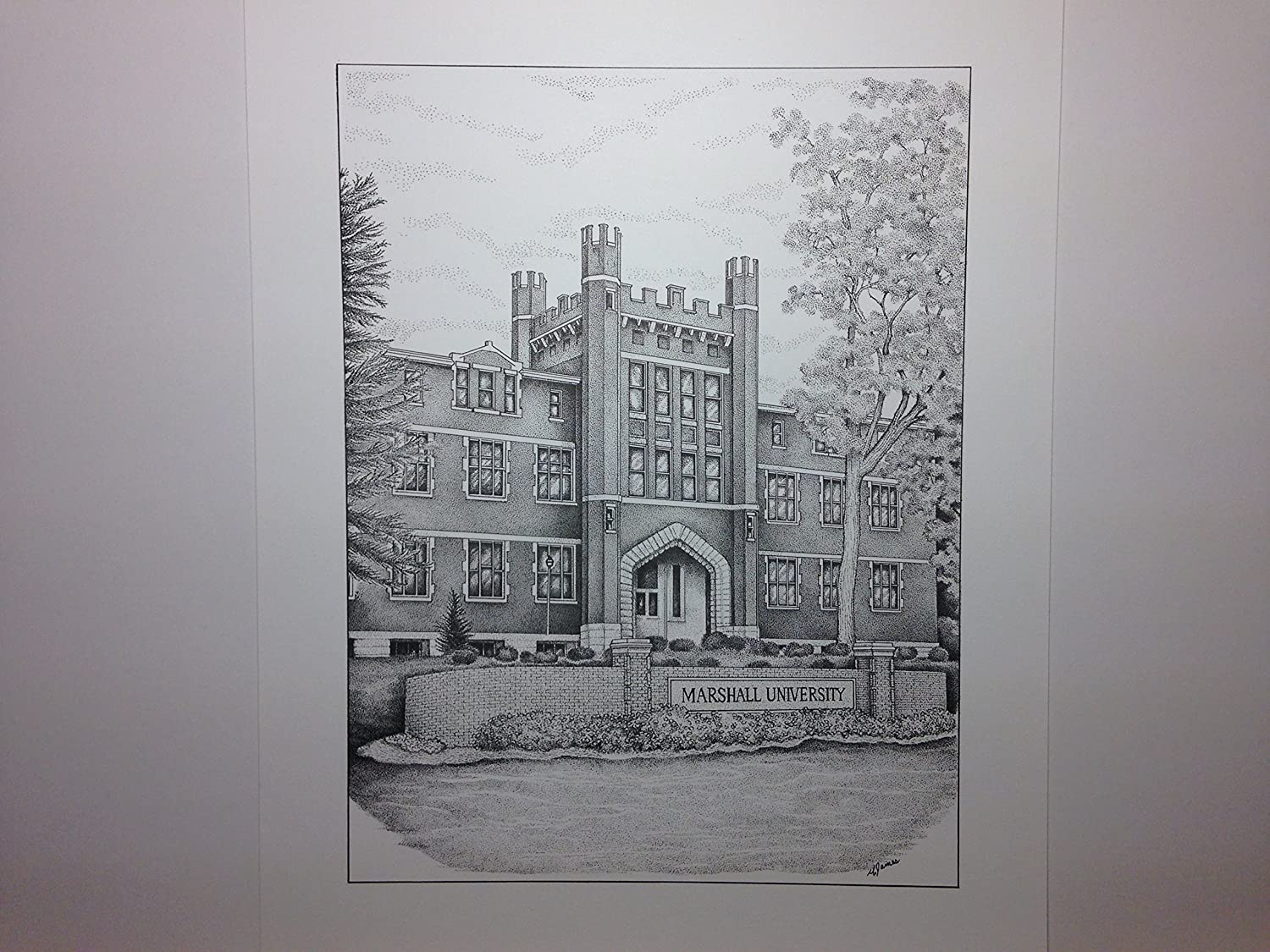 Marshall University - Old Main 9x12 pen and ink print