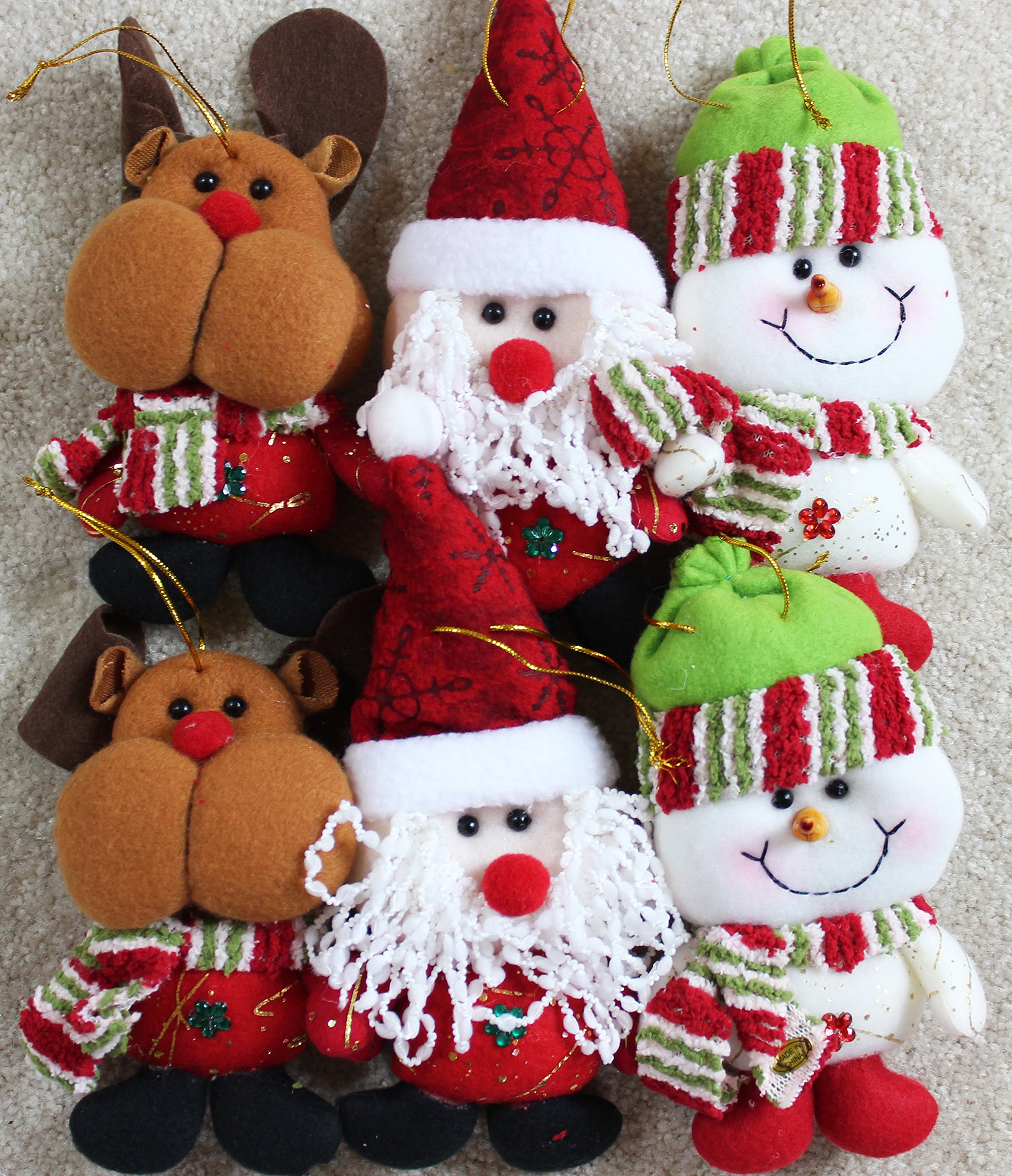 6pk-Plush-Christmas-Ornament-Sets-santasnowmanreindeer