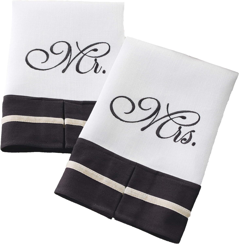 MR /& MRS TOWEL SET BLACK EMBROIDERY ON WHITE TOWEL WEDDING GIFT