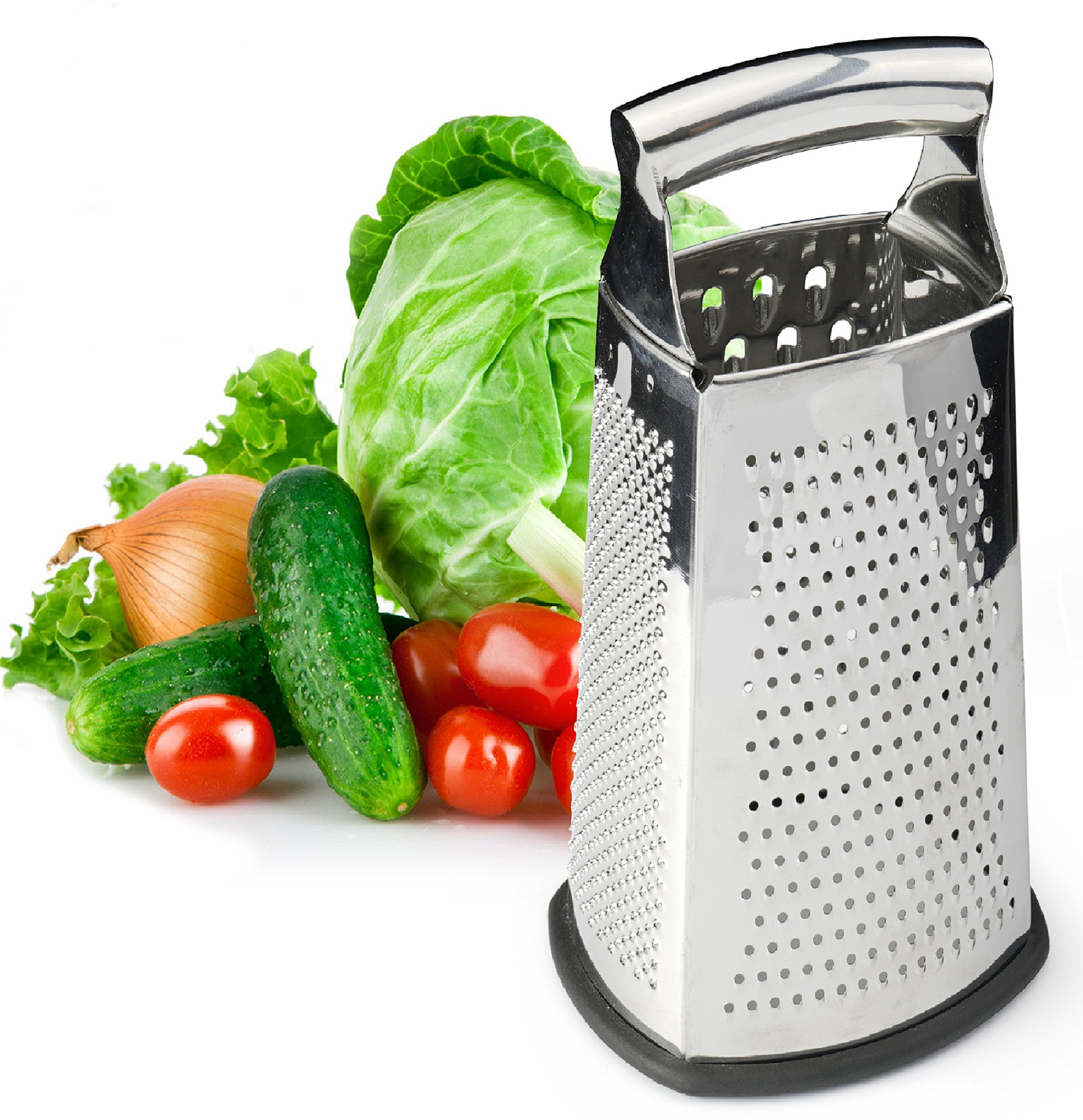 Spring Chef Box Grater, 4-Sided Stainless Steel Large 10-inch Grater for Parmesan Cheese, Ginger, Vegetables by Spring Chef