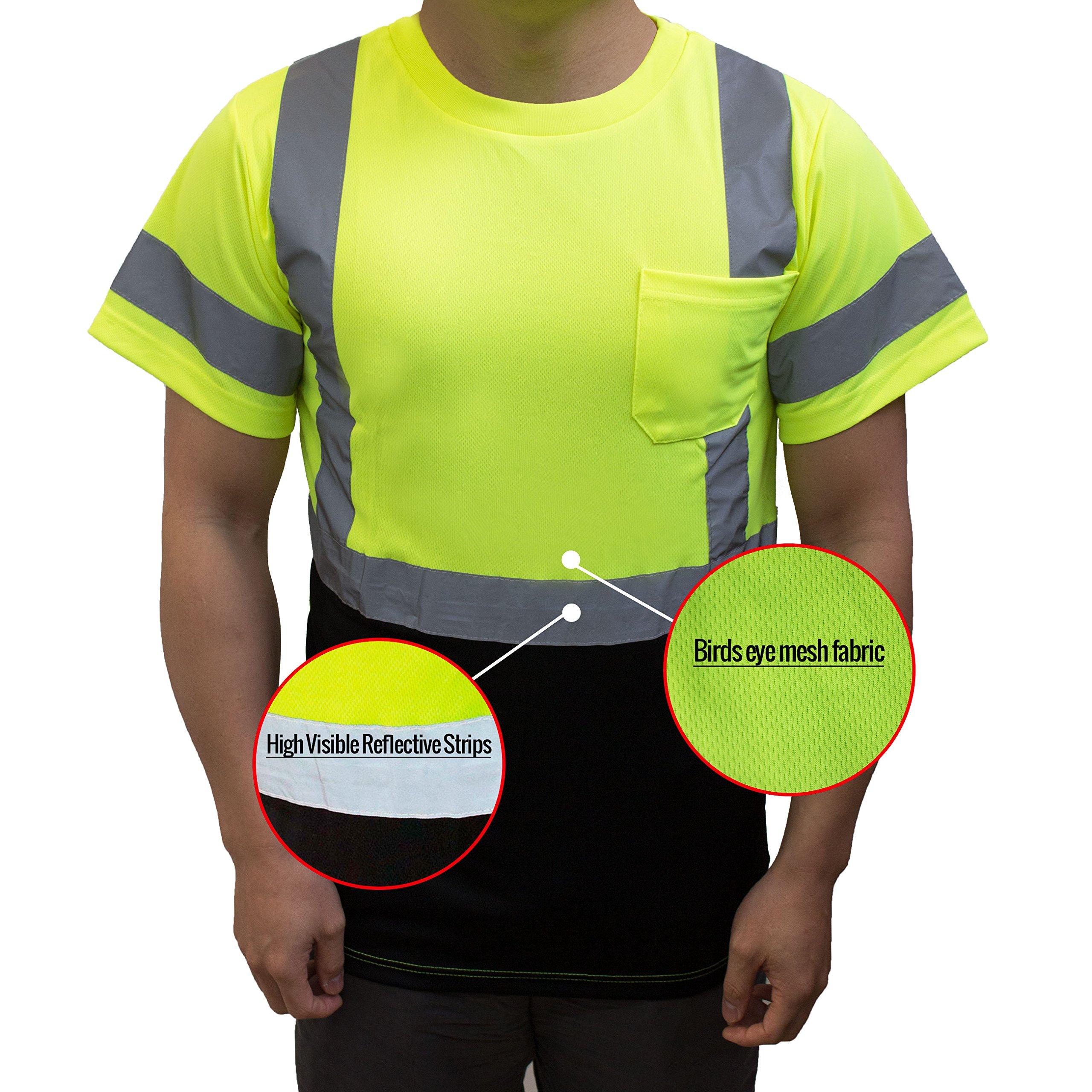 NY BFS8512 High-Visibility Class 3 T Shirt with Moisture Wicking Mesh Birdseye, Black Bottom (Large, Green) by New York Hi-Viz Workwear (Image #4)