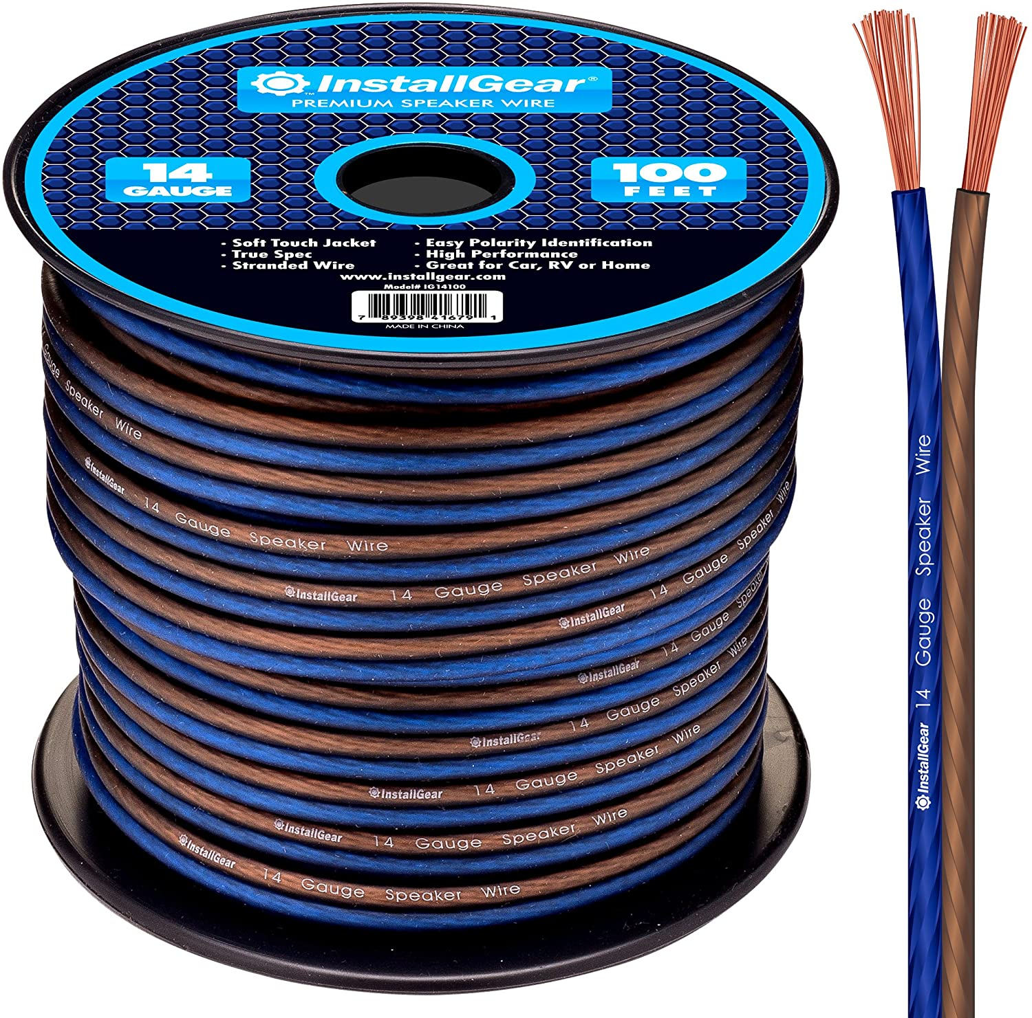 InstallGear 14 Gauge AWG 100ft Speaker Wire True Spec and Soft Touch Cable: Electronics