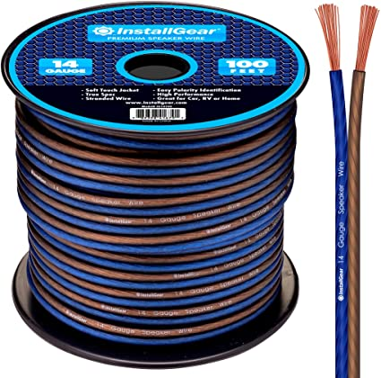 100/' feet EACH 12 14 /& 16 Gauge AWG BLUE//BK 300/' Speaker Wire Car Home Audio
