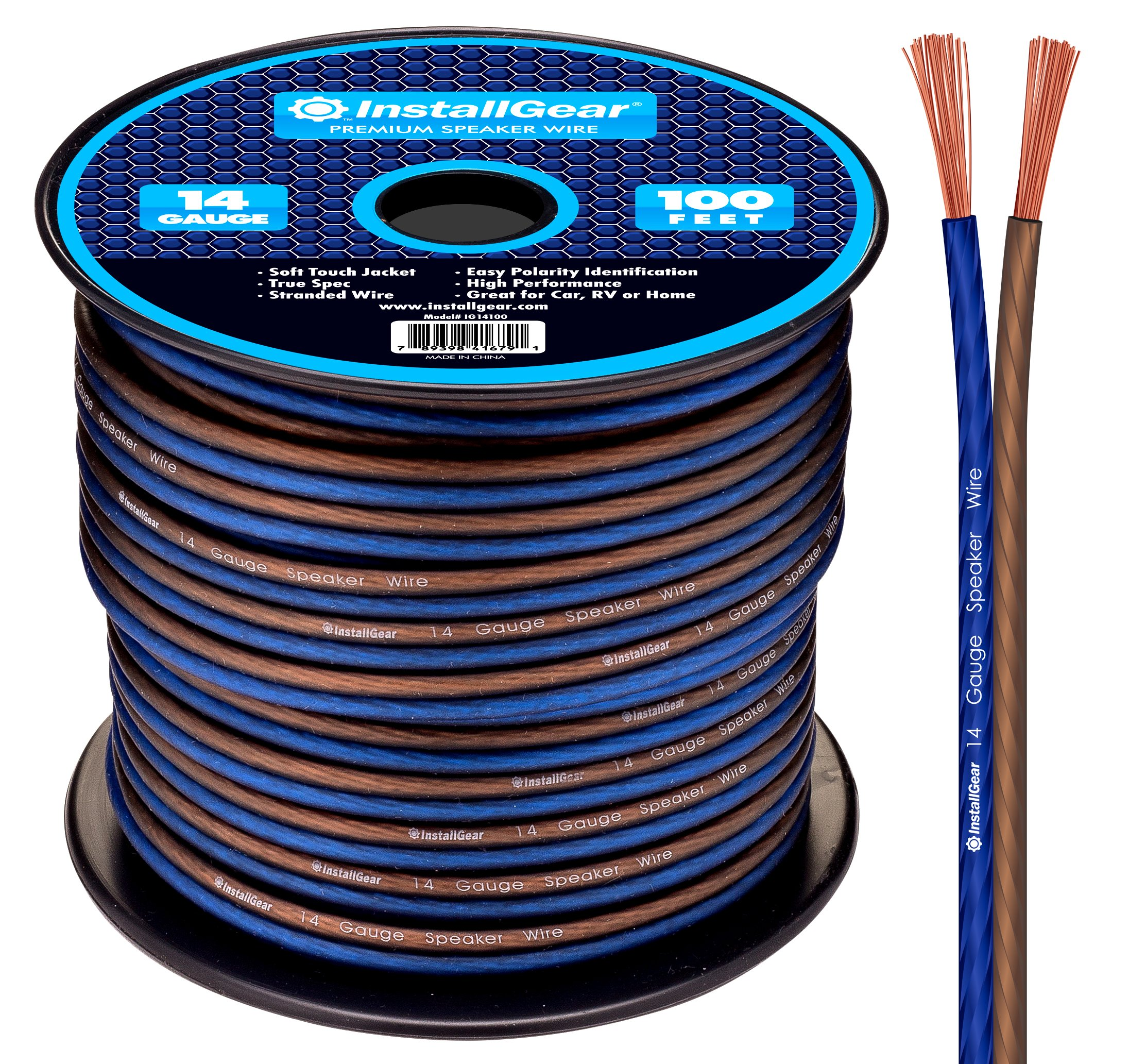 InstallGear 14 Gauge AWG 100ft Speaker Wire True Spec and Soft Touch Cable by InstallGear