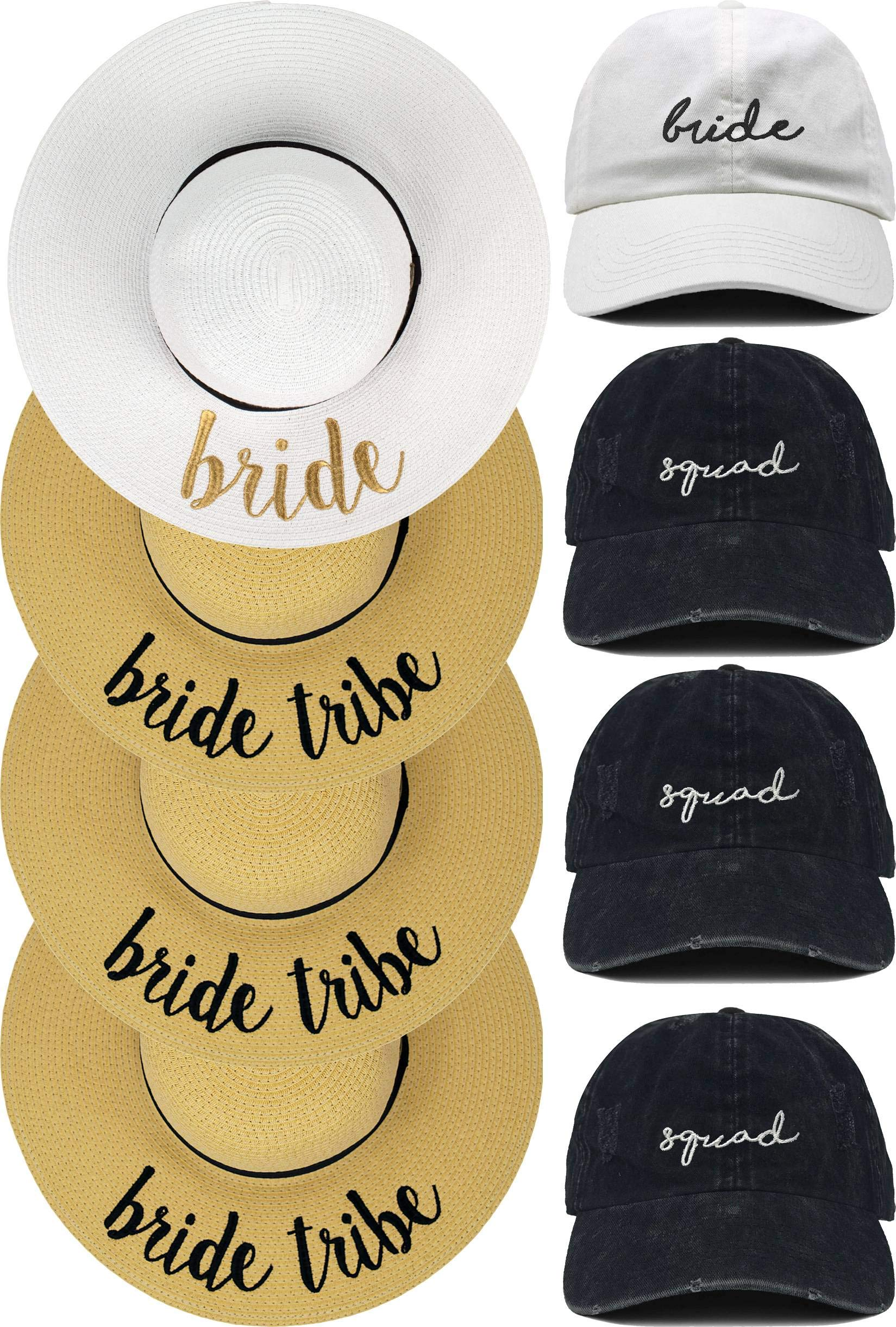 H-1714-4-BWG.3S Sun Hat/Dad Hat Bridal Bundle: 1 Bride, 3 Squad