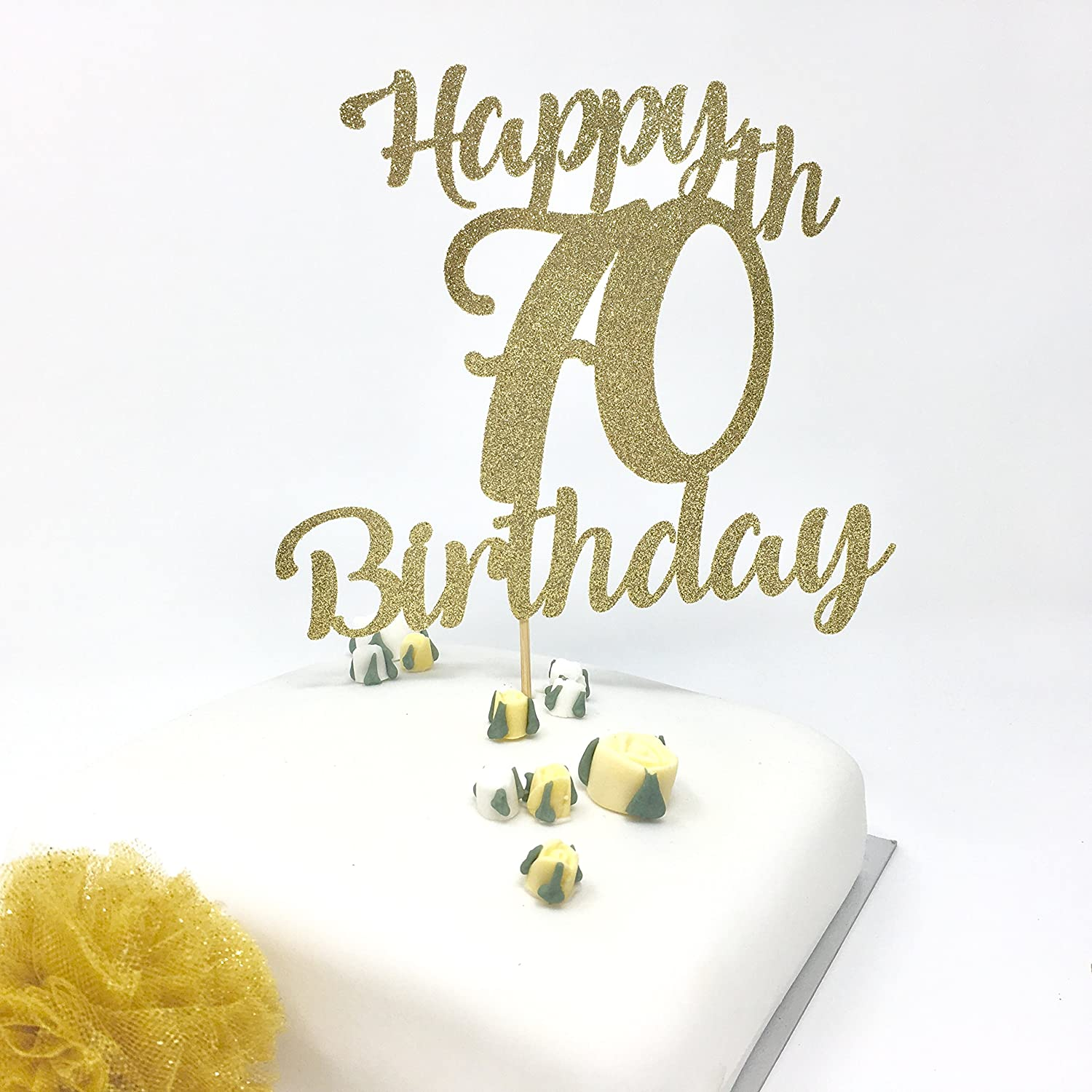 Fantastic Happy 70Th Birthday Cake Topper Gold Shinny Cake Topper Birthday Funny Birthday Cards Online Aboleapandamsfinfo