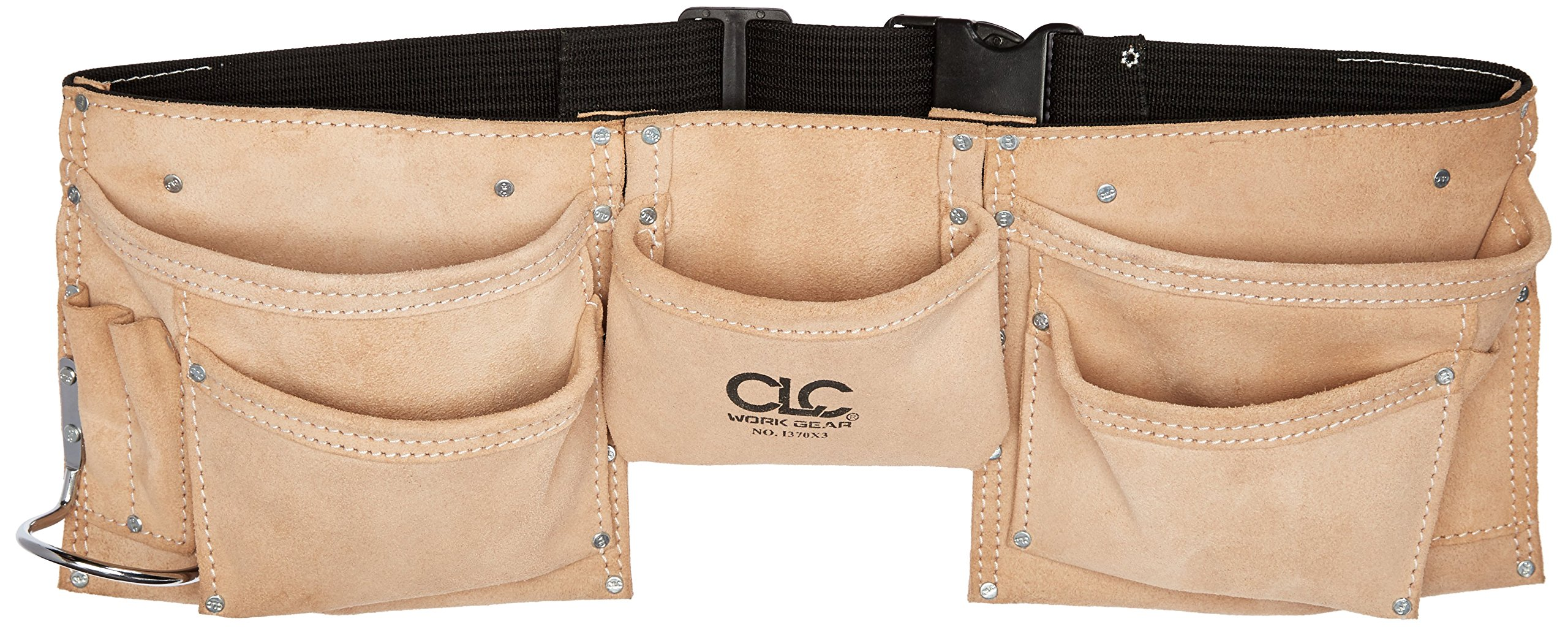 CLC Custom Leathercraft I370X3 Heavy Duty Suede Construction Work Apron with Steel Hammer Loop, 8 Pockets