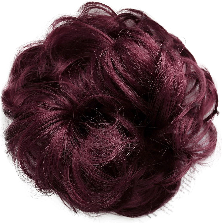 PRETTYSHOP Postizo Coletero Peinado alto, VOLUMINOSO, rizado, Moño descuidado borgoña # 188 G27A