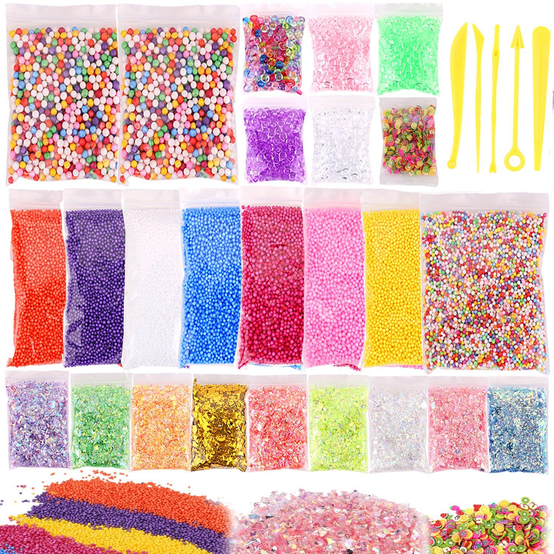 Outgeek - Juego de 26 cuentas de espuma, cuentas de pecera, rebanadas de frutas, papel de azúcar con purpurina, herramientas de adelgazamiento para niños ...