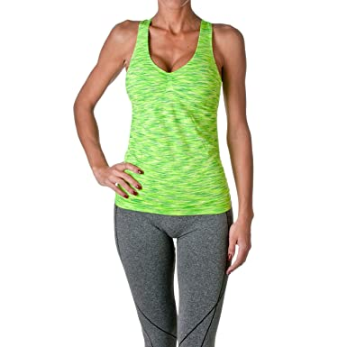 b8a26fd50 Riverberry Womens Actives Racerback Yoga Workout Exercise Top with Built-in Shelf  Bra