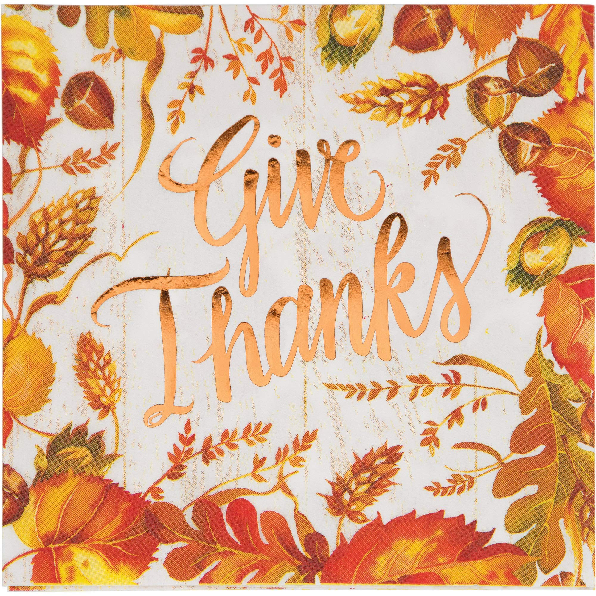 Pack of 12 Yellow and Orange Give Thanks Foil Stamped Luncheon Napkin 6.5''