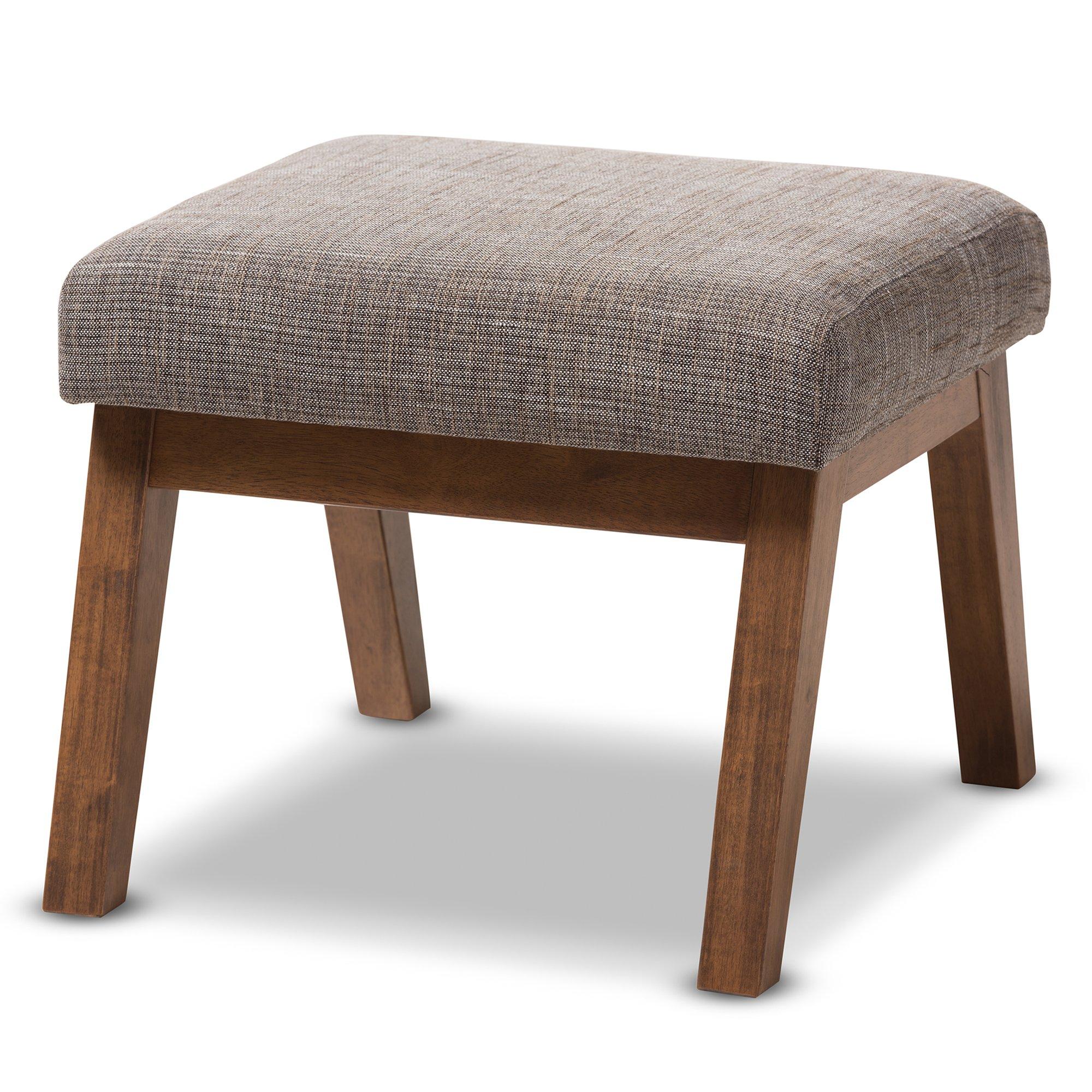 Baxton Studio Brienne Gravel Fabric Walnut Wood Ottoman