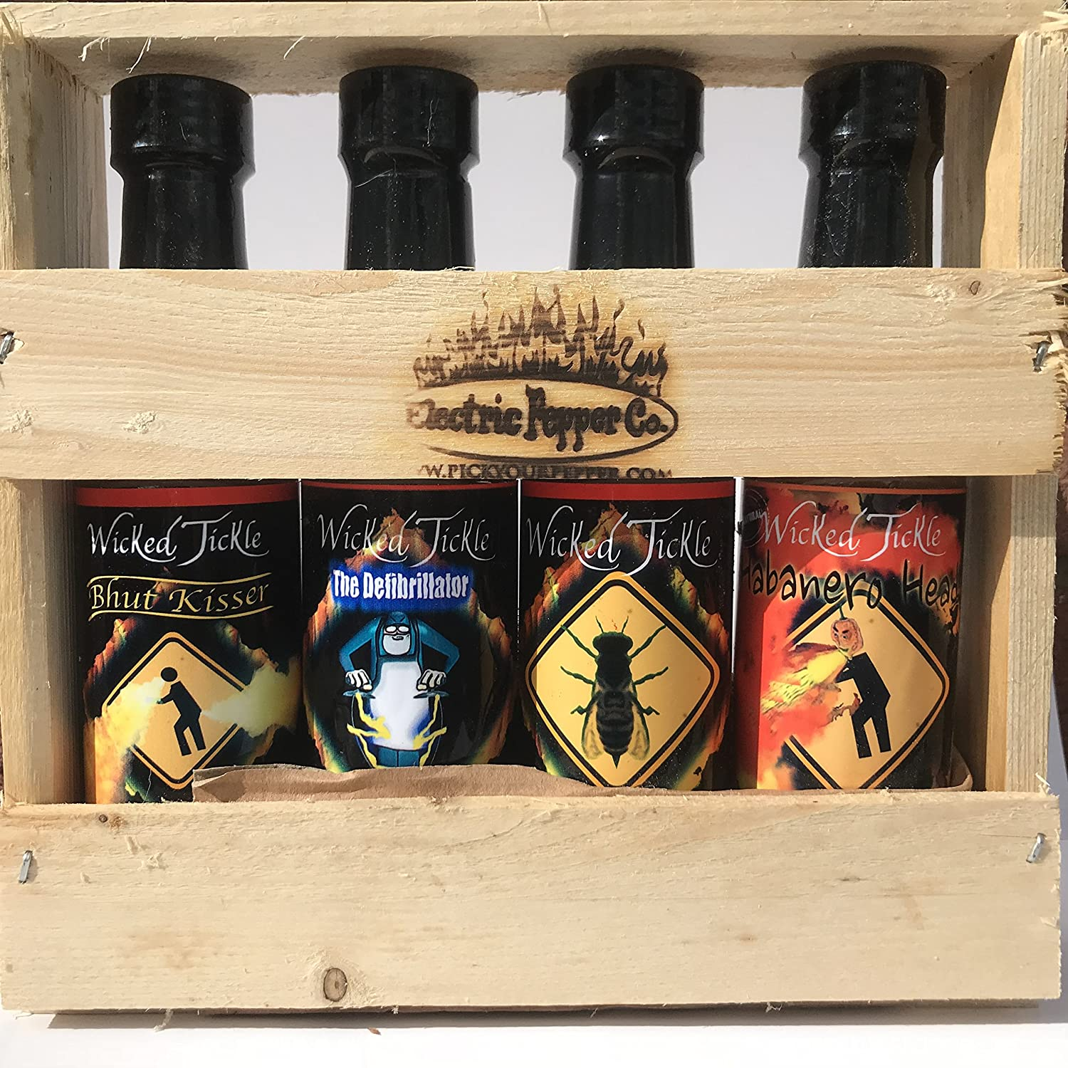 Hot Sauce Gift Set Ghost Pepper Habanero Gift Box 4 Pack +7 free Ghost Peppers Wicked Tickle